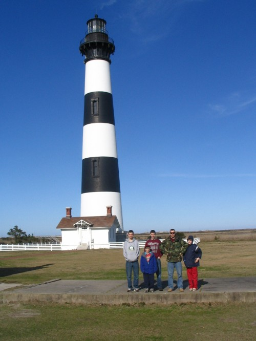 Family Guys in front of Bodie Island Lighthouse